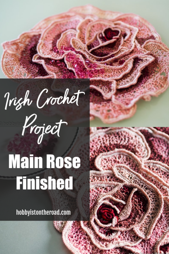 Irish crochet rose finished Pin