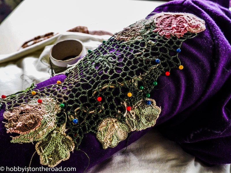 Working on sleeves Irish crochet dress