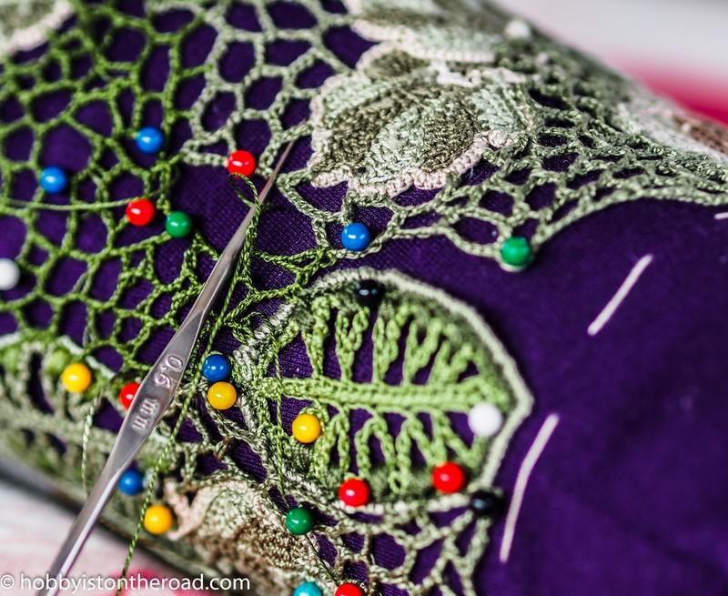 Finishing sleeves for Irish crochet dress