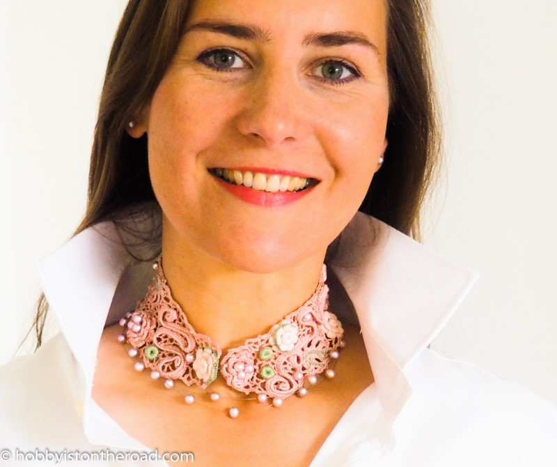 crochet choker collar with pearls