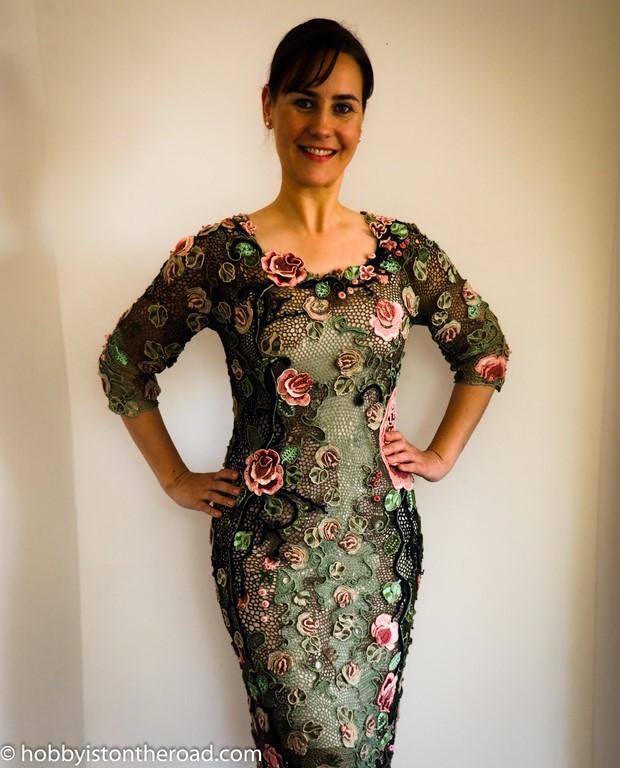 Irish crochet dress finished