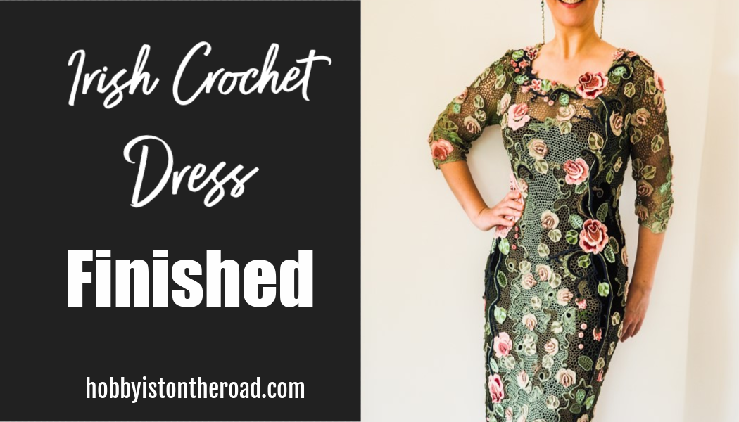 Irish crochet dress finished