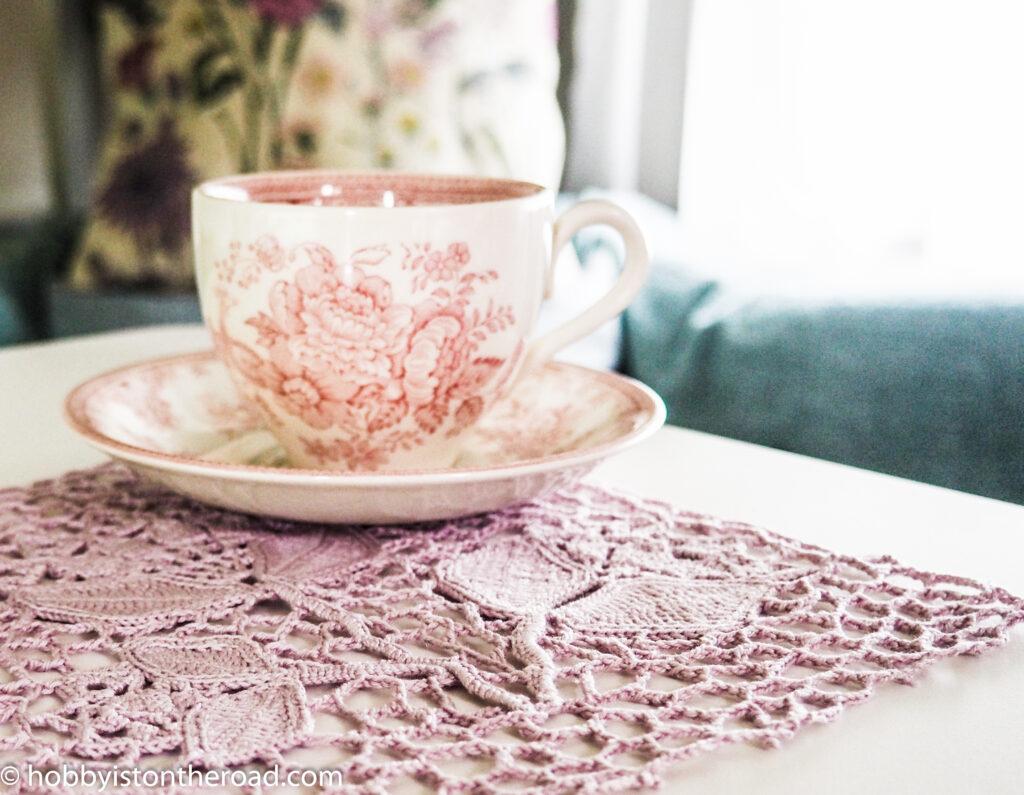 stylized crochet peonies napkin