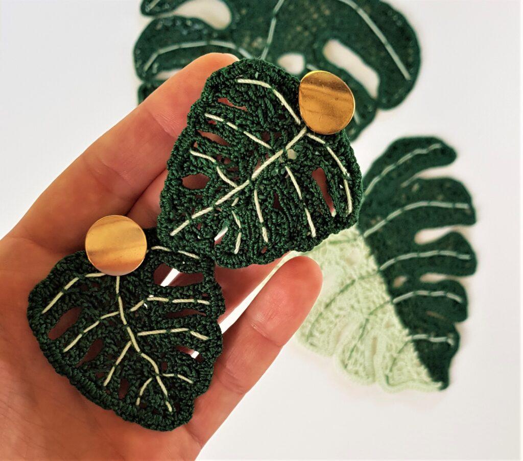 Crochet Monstera leaves earrings