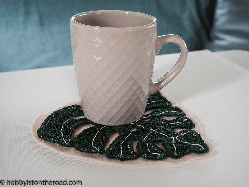 Crochet monstera leaves coaster