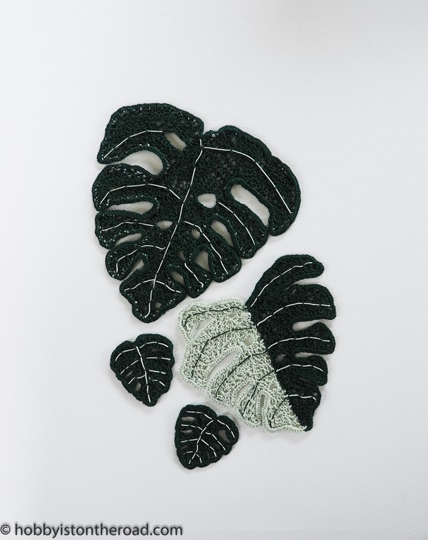 Crochet Monstera Leaves canvas