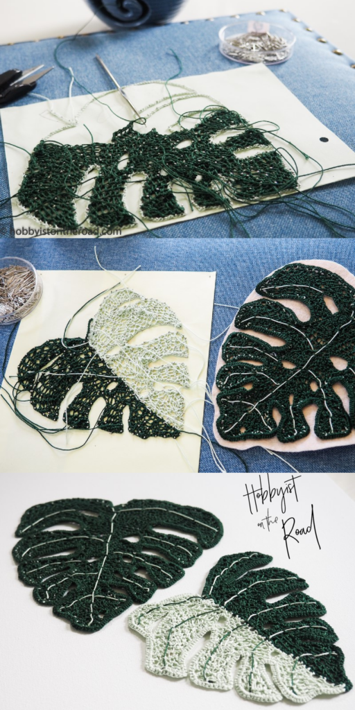 Crochet Monstera Leaves process   - pinterest