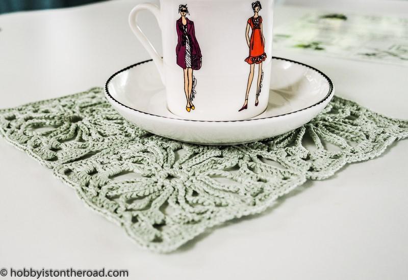Auntie Monika's granny squares mint green napkin