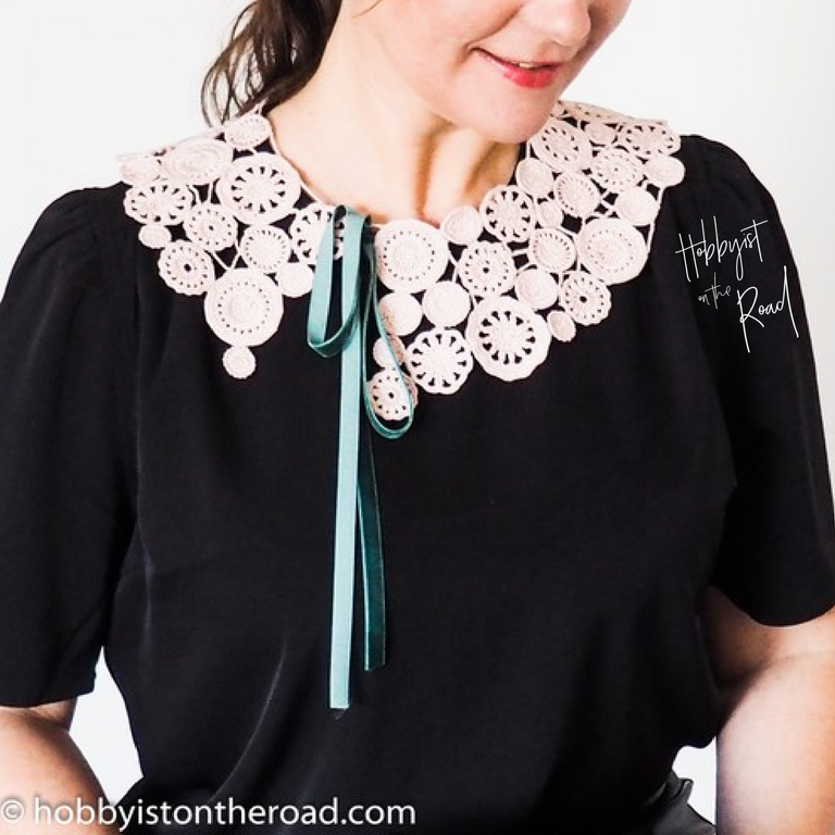 Dreamy Collar Styling - on a black blouse tied up on the side.